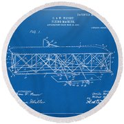 Round Beach Towel featuring the digital art 1906 Wright Brothers Flying Machine Patent Blueprint by Nikki Marie Smith