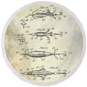 1907 Fishing Lure Patent Round Beach Towel by Jon Neidert