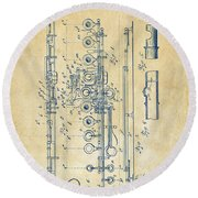 Round Beach Towel featuring the digital art 1908 Flute Patent - Vintage by Nikki Marie Smith