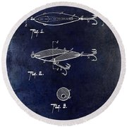 1909 Fishing Lure Patent Drawing Blue Round Beach Towel