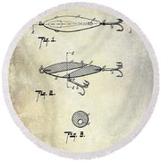 1909 Fishing Lure Patent Drawing Round Beach Towel