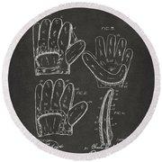 1910 Baseball Glove Patent Artwork - Gray Round Beach Towel