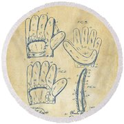 1910 Baseball Glove Patent Artwork Vintage Round Beach Towel