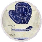 1910 Baseball Patent Drawing 2 Tone Round Beach Towel