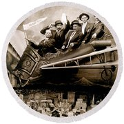 1910 Flight Over Portland Round Beach Towel by Historic Image