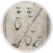 1910 Golf Club Patent Round Beach Towel
