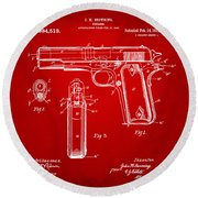 1911 Colt 45 Browning Firearm Patent Artwork Red Round Beach Towel