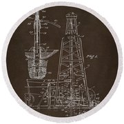 Round Beach Towel featuring the drawing 1911 Oil Drilling Rig Patent Artwork - Espresso by Nikki Marie Smith