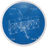 Round Beach Towel featuring the drawing 1914 Wright Brothers Flying Machine Patent Blueprint by Nikki Marie Smith