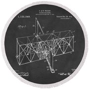 Round Beach Towel featuring the drawing 1914 Wright Brothers Flying Machine Patent Gray by Nikki Marie Smith