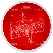 Round Beach Towel featuring the drawing 1914 Wright Brothers Flying Machine Patent Red by Nikki Marie Smith