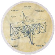 Round Beach Towel featuring the drawing 1914 Wright Brothers Flying Machine Patent Vintage by Nikki Marie Smith