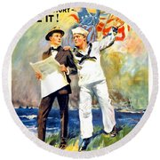 1917 - United States Navy Recruiting Poster - World War One - Color Round Beach Towel