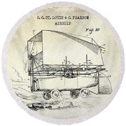 1919 Airship Patent Drawing Round Beach Towel