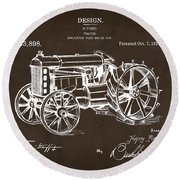 Round Beach Towel featuring the drawing 1919 Henry Ford Tractor Patent Espresso by Nikki Marie Smith