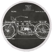 Round Beach Towel featuring the digital art 1919 Motorcycle Patent Artwork - Gray by Nikki Marie Smith