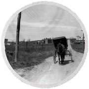 1920s 1930s Amish Man Driving Buggy Round Beach Towel