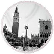 1920s 1930s Venice Italy Piazza San Round Beach Towel
