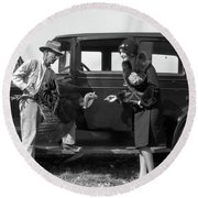 1920s Farmer Holding Turkey Talking Round Beach Towel