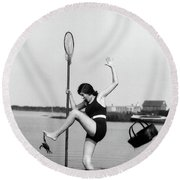 1920s Woman Crabbing Surprised By Crab Round Beach Towel