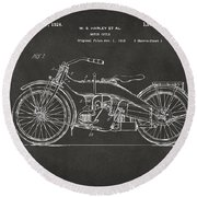1924 Harley Motorcycle Patent Artwork - Gray Round Beach Towel by Nikki Marie Smith
