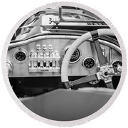 1925 Aston Martin 16 Valve Twin Cam Grand Prix Steering Wheel -0790bw Round Beach Towel