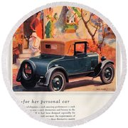 1927 - Chevrolet Advertisement - Color Round Beach Towel