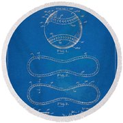 1928 Baseball Patent Artwork - Blueprint Round Beach Towel by Nikki Smith