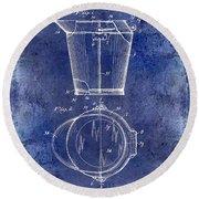 1928 Milk Pail Patent Drawing Blue Round Beach Towel