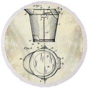 1928 Milk Pail Patent Drawing Round Beach Towel