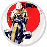 1929 - Bmw Motorcycle Poster - Color Round Beach Towel