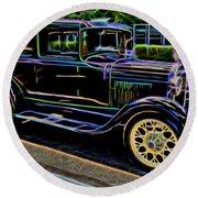 1929 Ford Model A - Antique Car Round Beach Towel