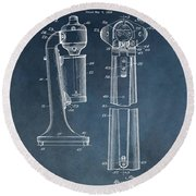 1930 Drink Mixer Patent Blue Round Beach Towel by Dan Sproul