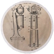 1930 Drink Mixer Patent Round Beach Towel by Dan Sproul