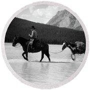1930s 1940s Cowboy On Horseback Round Beach Towel