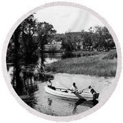 1930s 1940s Pair Of Boys In Rowboat Round Beach Towel
