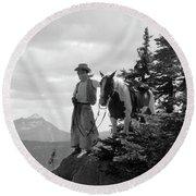 1930s Man Cowboy In Chaps Vest Hat Round Beach Towel