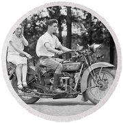 1930s Motorcycle Touring Round Beach Towel