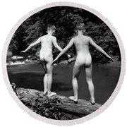 1930s Rear View Pair Naked Skinny- Round Beach Towel