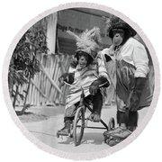 1930s Two Chimpanzees Wearing Straw & Round Beach Towel