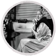 1930s Woman Sneezing Coughing With Cold Round Beach Towel
