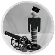 1930s Wooden Toy Soldier Next To Cannon Round Beach Towel