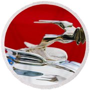 Round Beach Towel featuring the photograph 1931 Chrysler Coupe Hood Ornament by Jill Reger