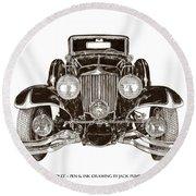 1931 Cord Cabriolet L 29 Round Beach Towel