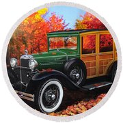 1931 Type 150-b Ford Round Beach Towel by Carlos Avila