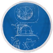 1932 Fireman Helmet Artwork Blueprint Round Beach Towel
