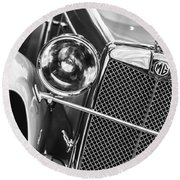 1932 Mg F1 Magna Grille -1363bw Round Beach Towel