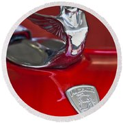1933 Plymouth Hood Ornament Round Beach Towel