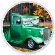 1934 Chev Pickup Round Beach Towel