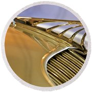1934 Desoto Airflow Coupe Hood Ornament Round Beach Towel